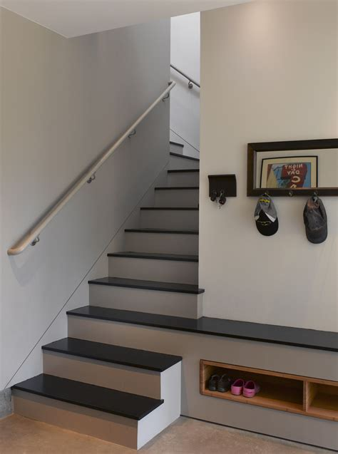 shoe storage stairs chic tree storage bench in staircase contemporary