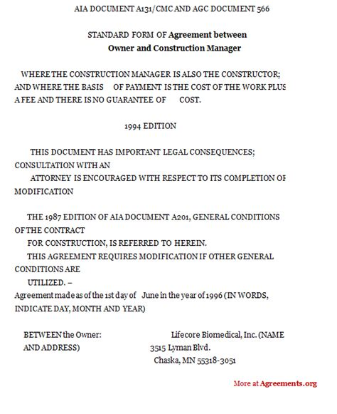 construction management agreement template construction management contract form free printable