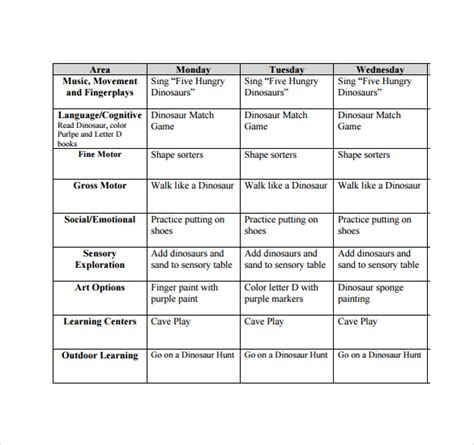creative curriculum lesson plan template for infants and toddlers sle toddler lesson plan 8 exle format
