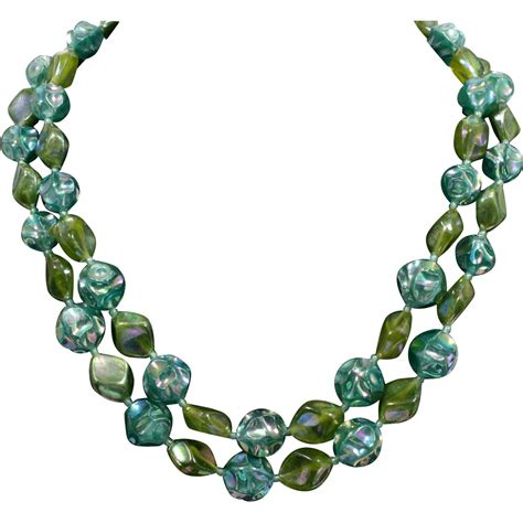 green beaded necklace austrian iridescent green beaded necklace strand
