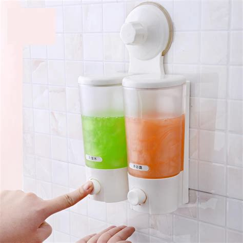 bathroom soap and shoo holder wall mounted strong suction cup double hand liquid soap