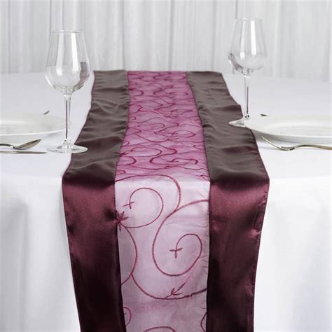 Eggplant Table Runners by Eggplant Embroidered Table Runner Efavormart