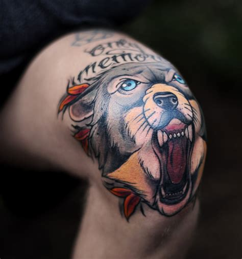 knee tattoos wolf knee