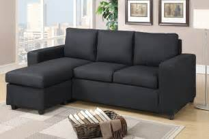 Black Fabric Sectional Sofa With Chaise Poundex Akeneo F7490 Black Fabric Sectional Sofa A