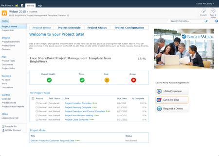 free sharepoint 2010 project management template now