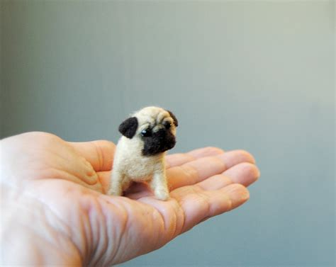 mini pug puppy miniature pug puppy dollhouse puppy needle felted