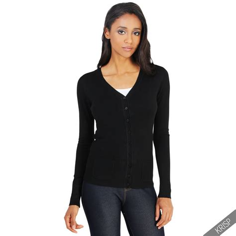 womens classic cardigan soft knit button sweater