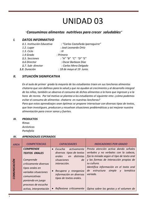 unidades y sesiones de aprendizaje 2o16 unidad de primer grado 03 by c 233 sar tafur ruiz issuu