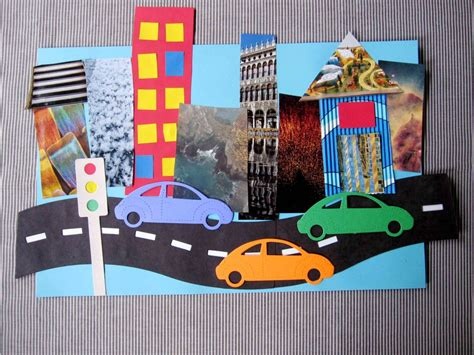 Paper Craft City - quot on the road quot collage craft for using magazine cut