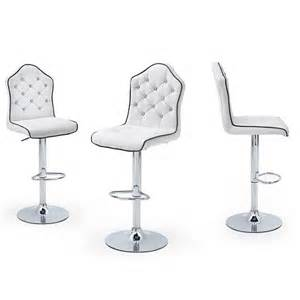 sigma bar stool in white faux leather with chrome base