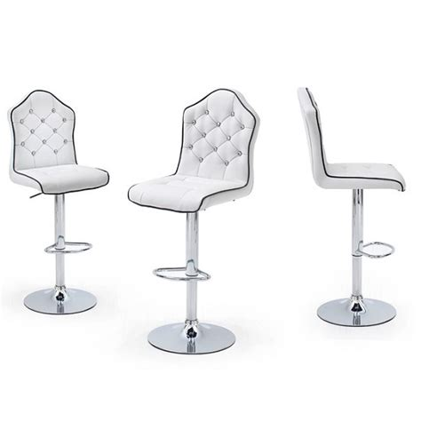 White Leather And Chrome Bar Stools by Sigma Bar Stool In White Faux Leather With Chrome Base