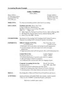 Resume Objectives For Accounting by Objective Accounting Resume Sles