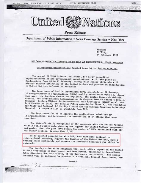 Support Letter For Ngo watchtower society united nations ngo status 1992