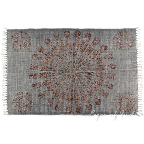 Flat Weave Cotton Area Rugs Mandala Cotton Print Accent Area Dhurrie Rug Flat Weave Woven 3 X 5 4 X 6 Ft Cotton
