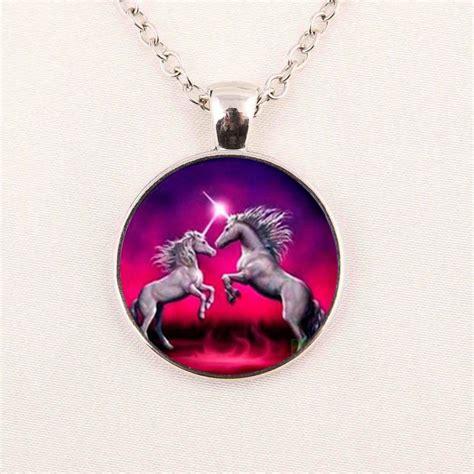 wholesale unicorn necklace unicorn pendant unicorn jewelry glass cabochon necklace in