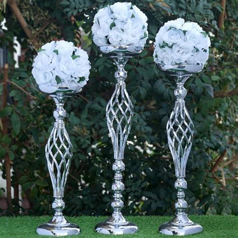 22 5 quot tall silver metal wedding flower decor candle holder