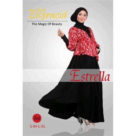 Busana Terkini Jaket Terkini Enthia Merah estrella merah baju muslim gamis modern