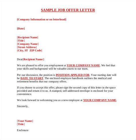 offer letter template 54 free word pdf format free