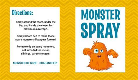 free printable monster spray label