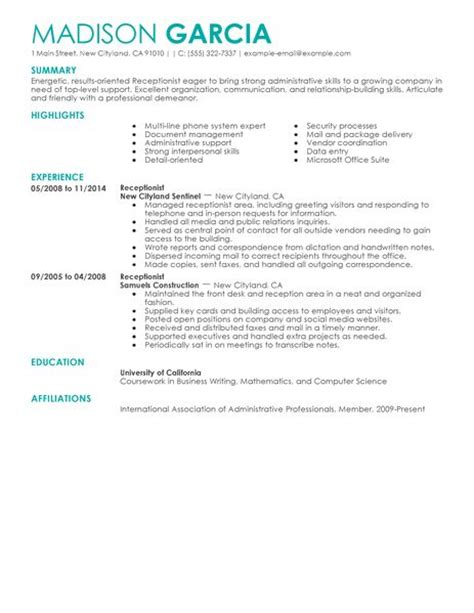 Resume Summary Sle For Receptionist Best Receptionist Resume Exle Livecareer