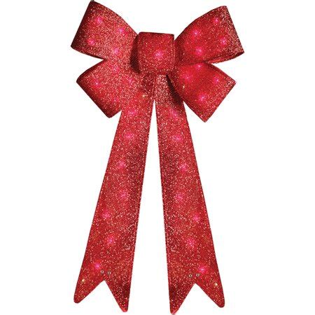 outdoor red battery lighted bows time decor 36 quot indoor outdoor lighted tinsel bow walmart
