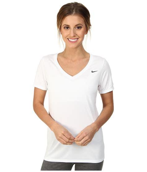 White Sleeved V Neck Shirt 1 nike legend 2 0 v neck in white lyst