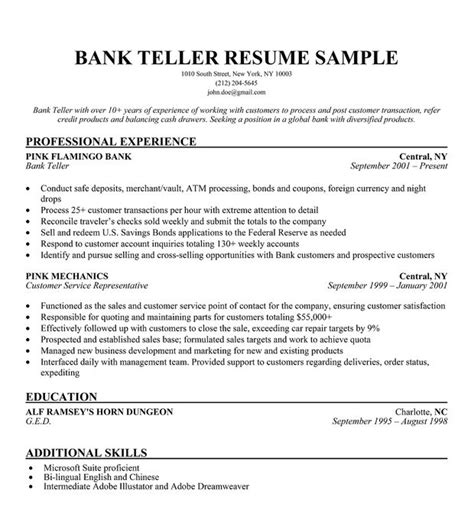 Teller Resume by Bank Teller Resume Sle Resume Companion Career