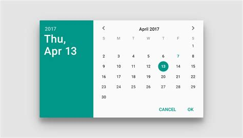 design html calendar pickers components material design