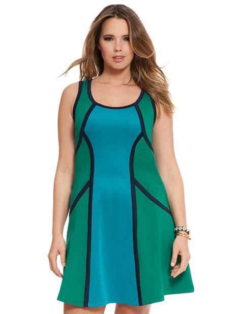 Jumbo 583 Dress Bigsize Material Scuba Fit To Xxxl Mididress Colorblock Scuba Tank Dress S Plus Size Dresses