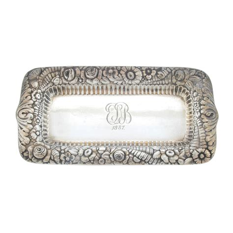 Silver Dresser Tray by Co Repousse Sterling Silver Vanity Pin Dresser