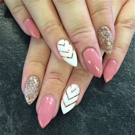 Pink Nail by Gel Nails Pink White Glitter Stilettos Fashion