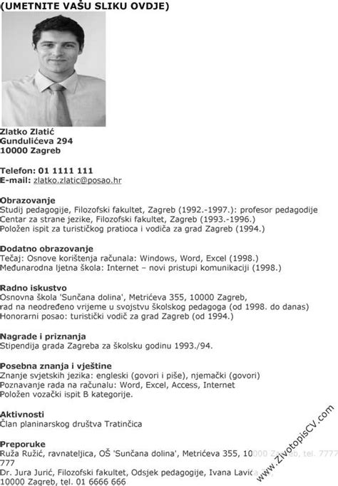 pedagog zivotopis cv primjer info