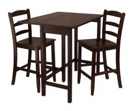 winsome lynnwood 3pc drop leaf high table with 2 counter