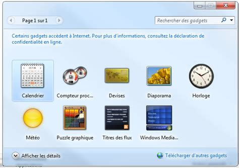 gadget bureau comment afficher les gadgets windows 7