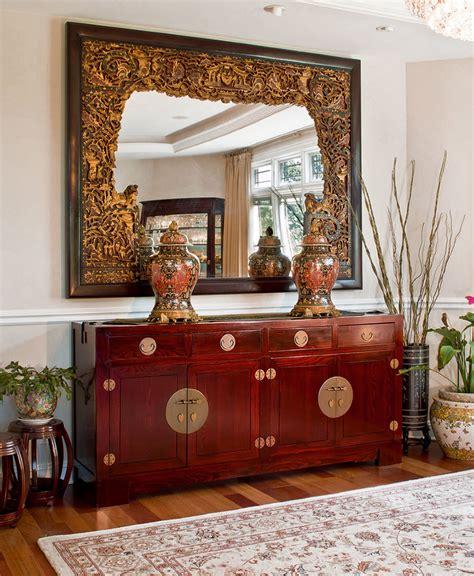 elmwood mahogany sideboard  antique mirror asian