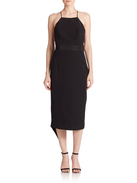 draped back dress milly draped t back dress in black lyst
