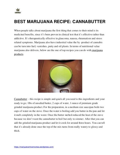 marijuana recipe cannabutter