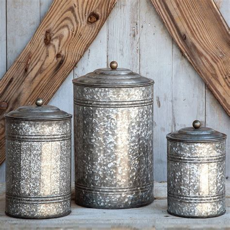Metal Kitchen Canister Sets by Park Hill Collection Tall Galvanized Canisters Set Ze5047