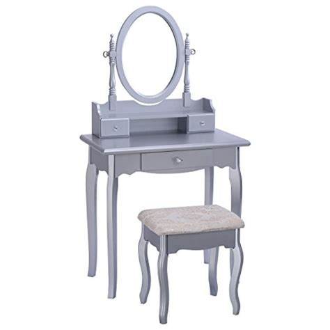 Jewelry And Makeup Vanity Table Giantex Silver Vanity Jewelry Makeup Dressing Table Set W Stool Drawer
