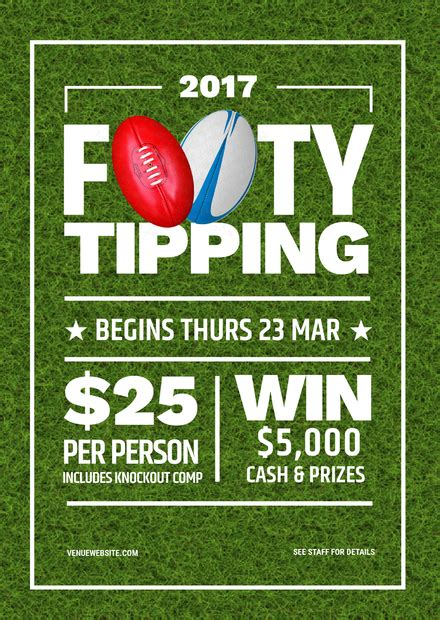 afl footy card template losing ticket draw