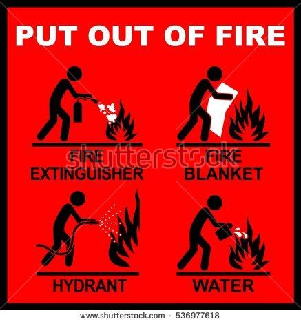how to put out a fireplace extinguisher carbon background vector stock vector 193920434