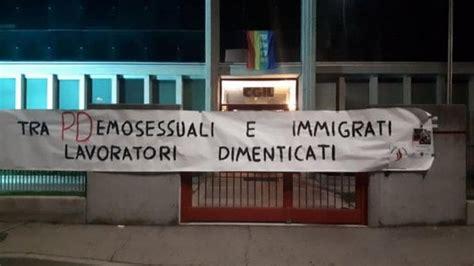 sedi cgil roma striscioni e slogan razzisti e omofobi contro le sedi cgil