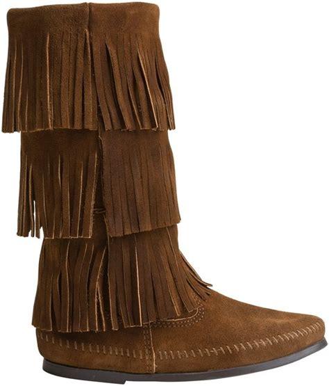 minnetonka 3 layer fringe boot minnetonka calf hi 3 layer fringe boot shoes