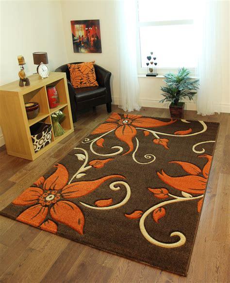 Burnt Orange Brown Area Rugs Brown Burnt Orange Beige Floral Motif Quality Rugs Stain Resistant Mat Ebay