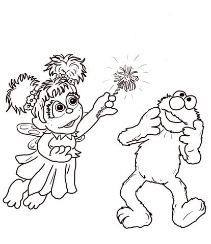 abby cadabby and elmo coloring page free printable