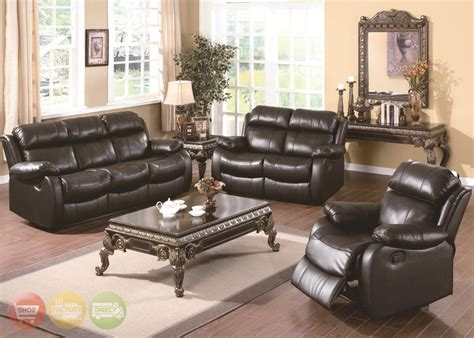 Leather Livingroom Set | weston contemporary genuine black leather motion living