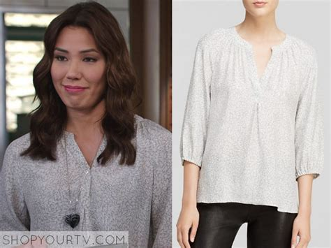 Blouse Angella bones season 10 episode 11 angela s white print blouse shop your tv