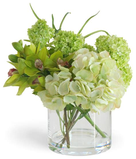 Floral Interiors Artificial Flowers And Trees by Hydrangea Cymbidium Green Flower Arrangement Traditional