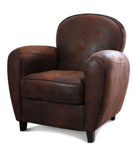 Leather Armchair Vintage Fauteuil Club Aspect Cuir Vieilli Marron Wadiga Com