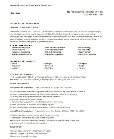 social media coordinator resume sle sle social media resume 8 exles in word pdf